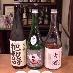 月の桂 「把和遊』 純米大吟醸/桃の滴 「愛山」 純米酒/招徳「古酒・2BY準米田吟醸」
