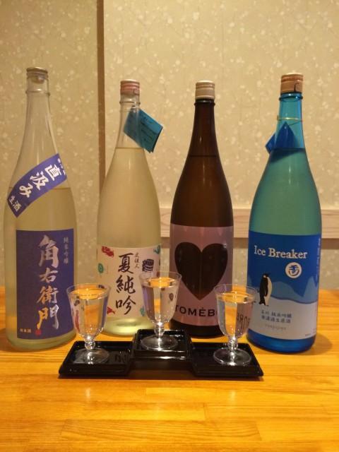 夏の吟醸酒の見比べこんな感じでご提供!!!