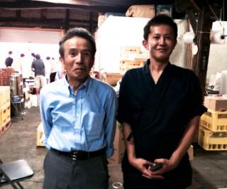 富田杜氏の師匠 今田杜氏です 現在は和歌山県の雑賀酒造でお酒を醸しています。 今田杜氏曰く「寿酒造の水は酒造りには最適」だとおっしゃっていました。