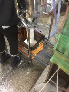洗米機で洗った米を袋に入れている作業